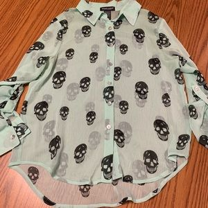 Sheer turquoise button down skulls blouse (SMALL)